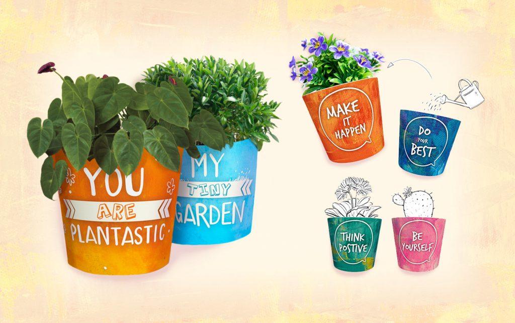 farbenfrohe Blumentopf Designs mit Spruch