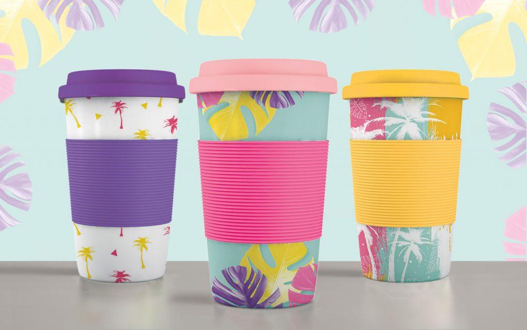 tropische Becher to-go Designs mit Muster und Palmen in neon Farben