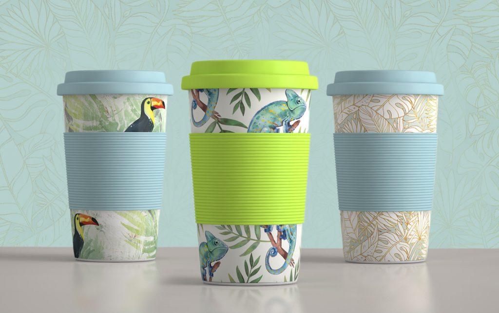tropische Becher to-go Designs mit Blättern, Chamäleon, Tukan und Muster