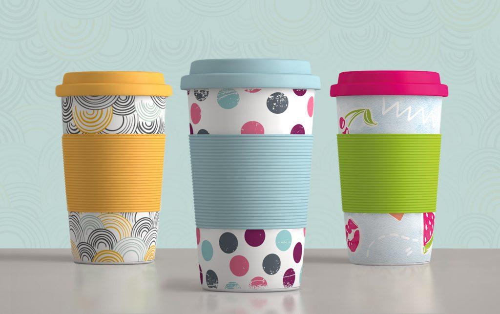 Becher to-go Designs mit Muster, Punkten, Kreisen und Sommer-Motiv
