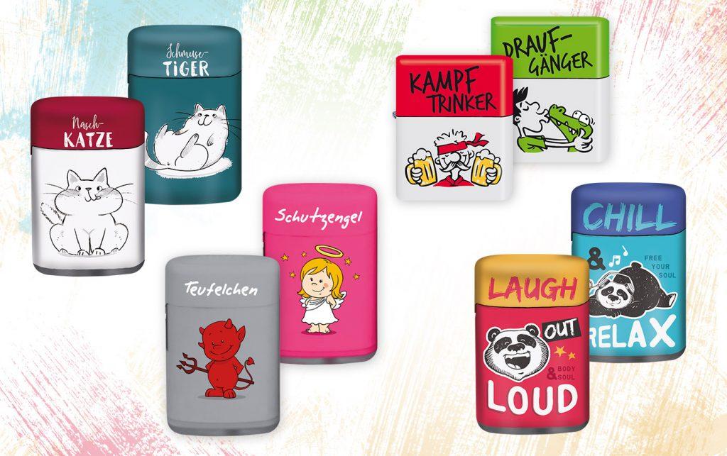 Feuerzeug Designs mit süßer Katze, Teufel, Engel, coolem Panda
