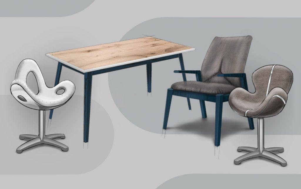 moderne 3D Möbel Designs für Drehsessel, Tisch mit Holz, Metall, Stoff und Leder
