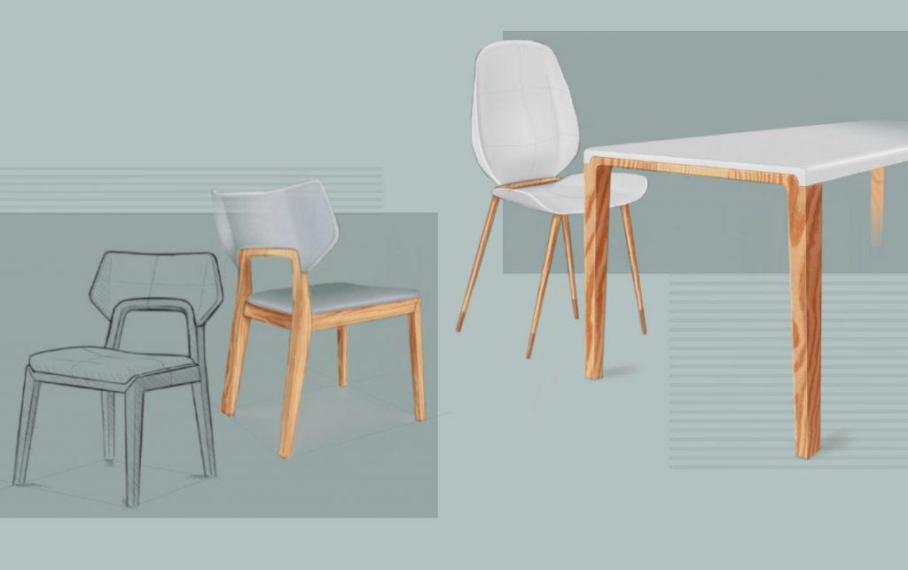 moderne 3D Möbel Designs für Stühle und Tisch mit Holz und Kunststoff