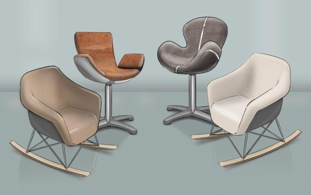 moderne 3D Stuhl Designs für Schaukelstühle und Drehsessel
