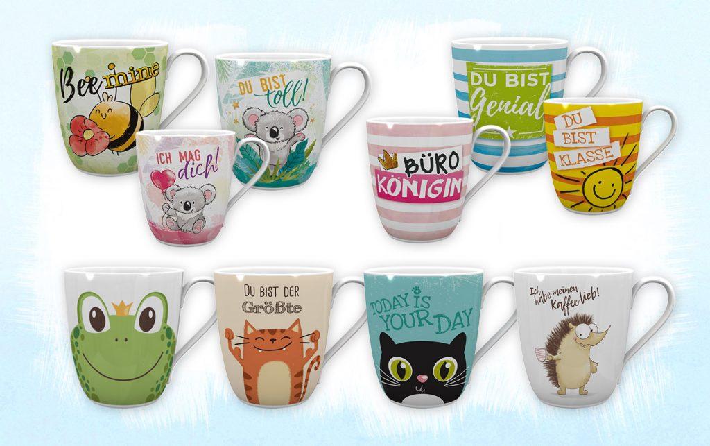 Comic Tassen Designs mit Biene, Katze, Frosch, Koala, Igel oder Sonne und mit Spruch