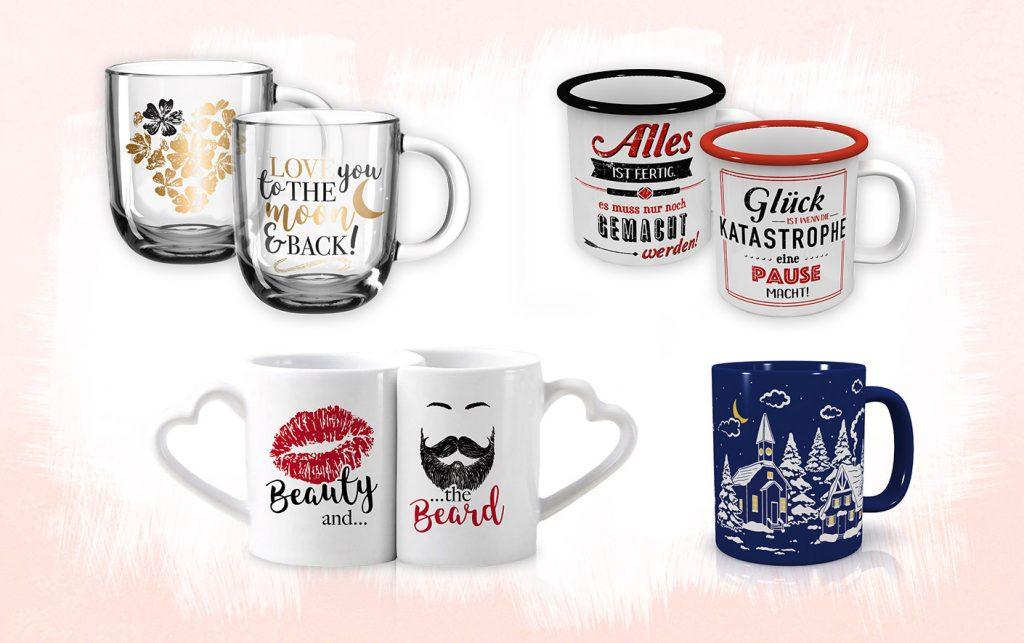 Tassen Designs für Paare, mit Spruch, mit Wintermotiv und gold edel