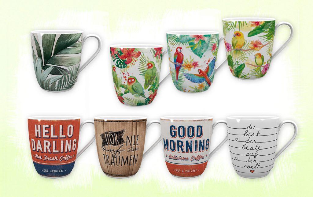 tropische vintage/retro Tassen Designs mit Vogel, Blätter, Spruch