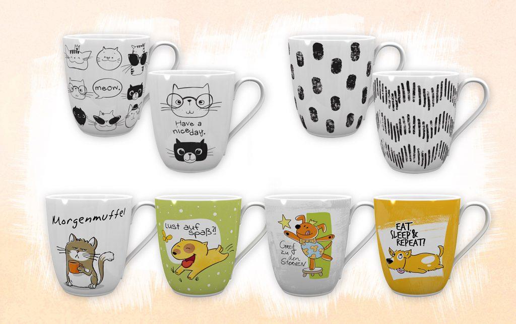 Tassen Designs mit Katze, Hund und schwarzweiß Muster