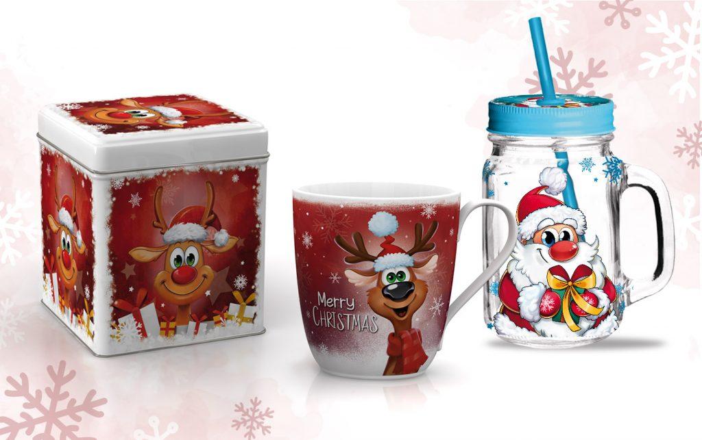 Weihnachten Designs mit Comic Rentier und Weihnachtsmann