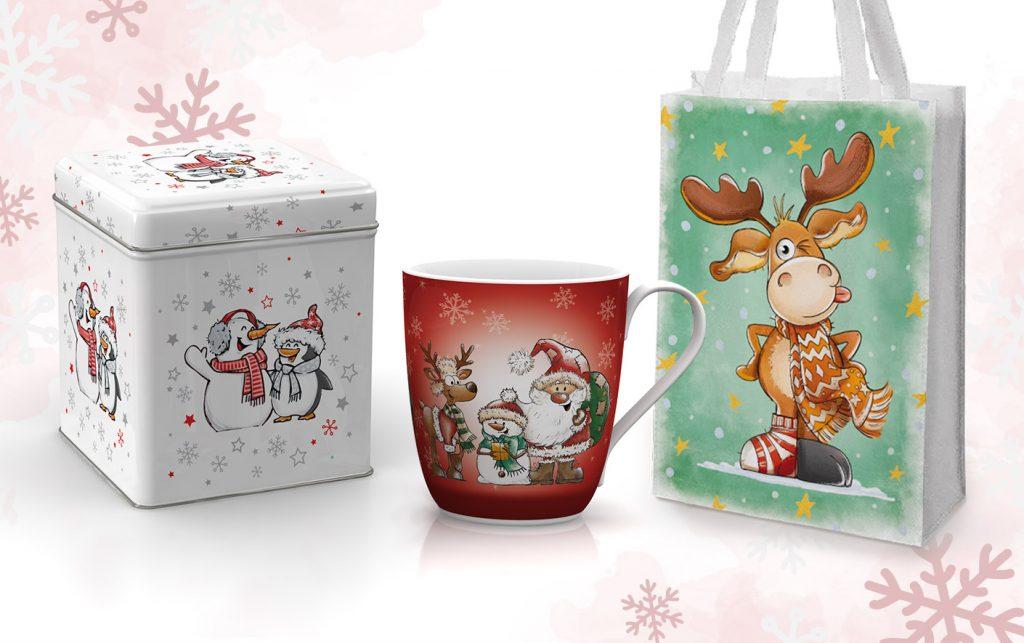 Weihnachten Designs mit Comic Weihnachtsmann, Schneemann und Rentier