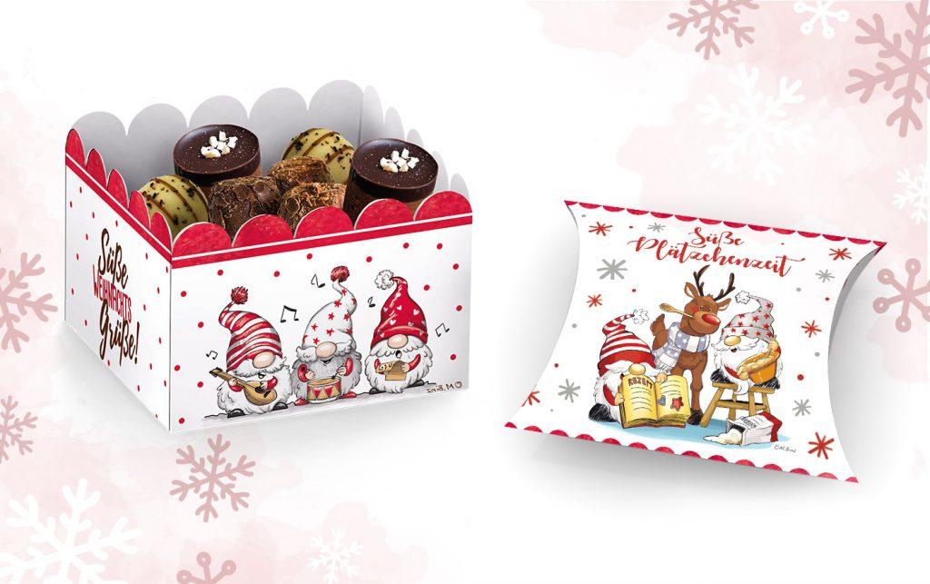 Weihnachten Designs für Keksschachtel mit süßen Comic Wichteln, Winter