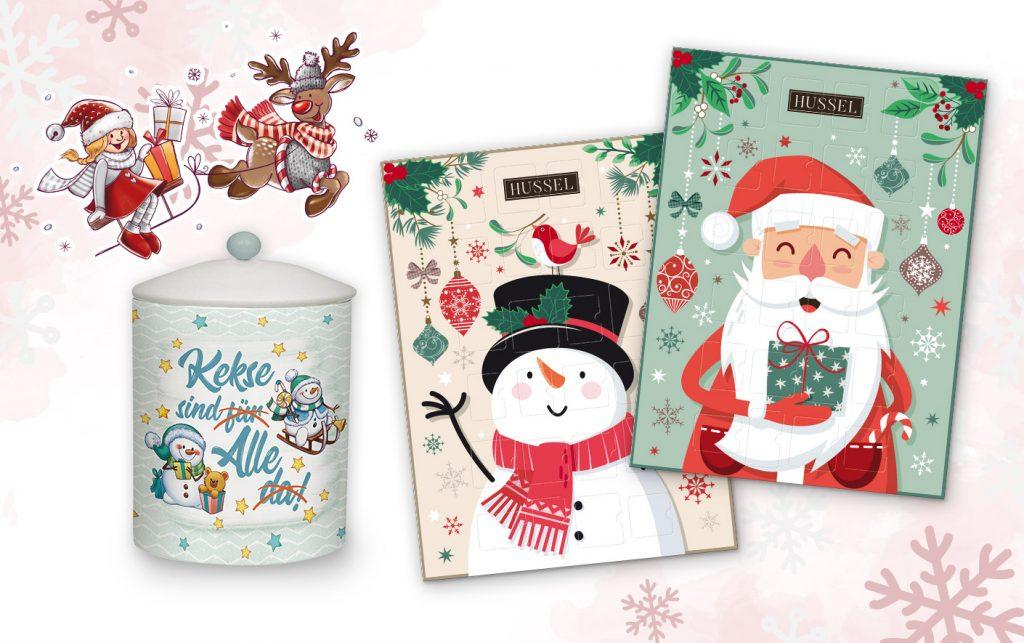 Weihnachten Designs für Adventskalender, Keksdose mit Comic Schnemann und Weihnachtsmann