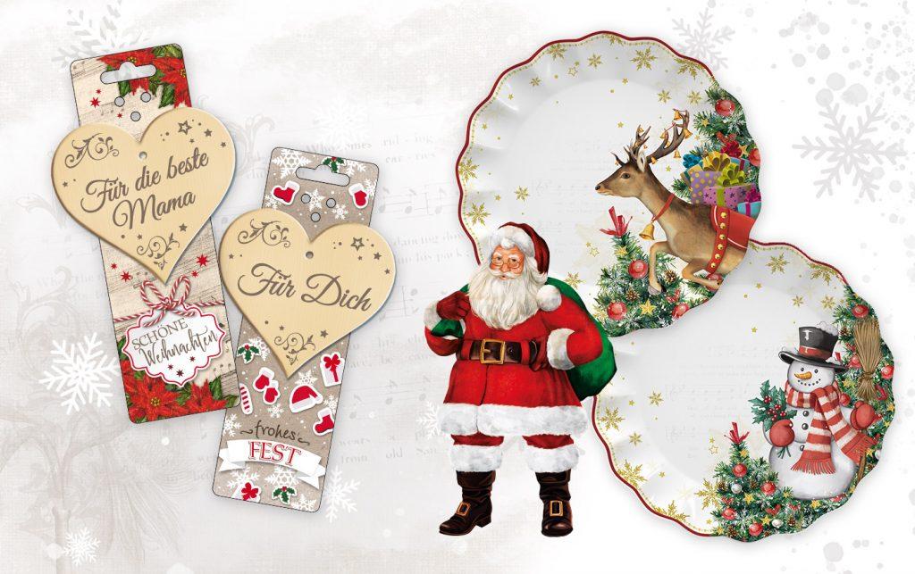klasssische, traditionelle Weihnachtsdesigns mit Hirsch, Weihnachtsmann, Schneemann, Weihnachtsbaum