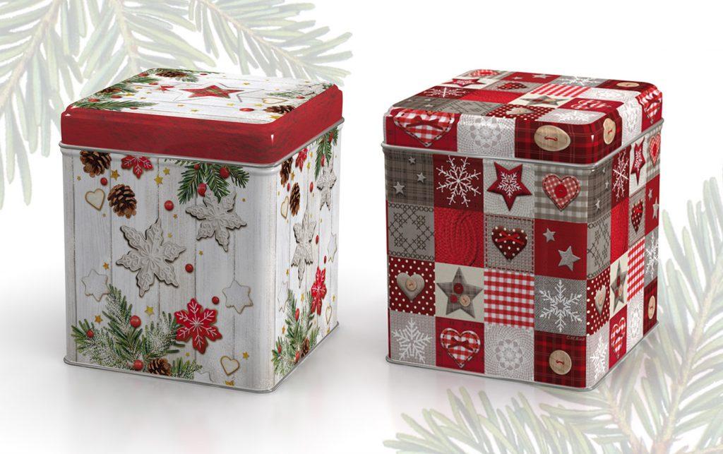 klassische, traditionelle Weihnachts Designs für Dosen mit Plätzchen/Keksen, Sternen, Holz, Karomuster
