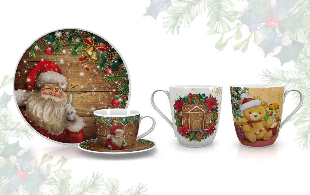klassische, traditionelle Weihnachts Designs für Geschirr mit Weihnachtsmann, Teddybär und Lebkuchenhaus