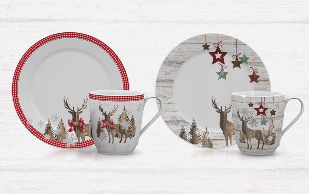 klassische, traditionelle Weihnachts Designs für Geschirr mit Hirsch, Bäumen, Holz